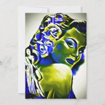 Green Envy Woman Abstract Art Holiday Card