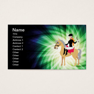 Green Equestrian Girl Business Card