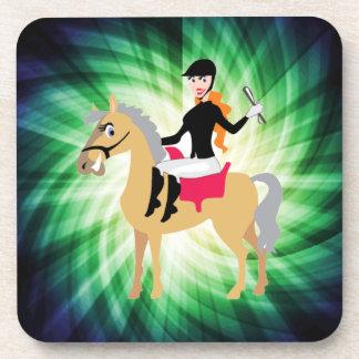 Green Equestrian Girl Drink Coasters