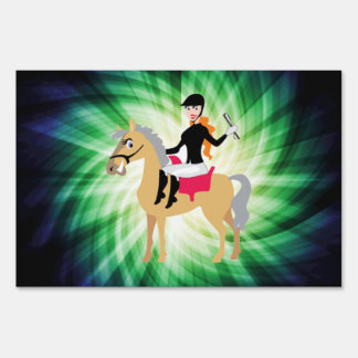 Green Equestrian Girl Lawn Signs