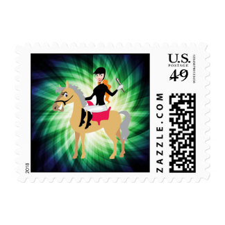 Green Equestrian Girl Stamps