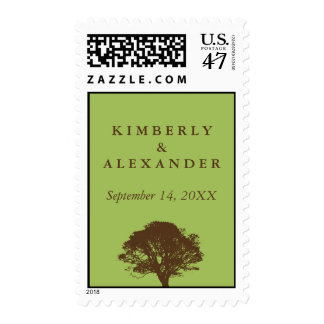 Green eternal oak tree custom name wedding postage
