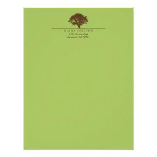 Green eternal oak tree elegant custom autumn letterhead