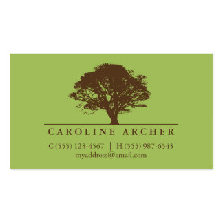 Green eternal oak tree elegant style nature Double-Sided standard business cards (Pack of 100)