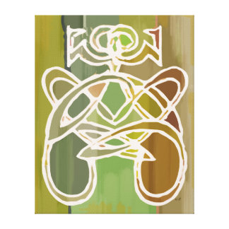 Green Ethnic Abstract Colorful Curvy Woman Figure Gallery Wrapped Canvas