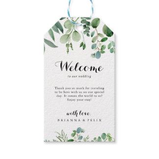 Green Eucalyptus Botanical Wedding Welcome Gift Tags