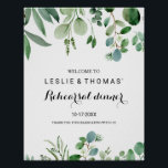 "Green Eucalyptus Foliage Rehearsal dinner Welcome Poster<br><div class=""desc"">This green eucalyptus foliage rehearsal dinner welcome poster is perfect for a simple rehearsal dinner. The design features hand-painted artistic beautiful eucalyptus green leaves,  assembled into neat bouquets to embellish your event.</div>"