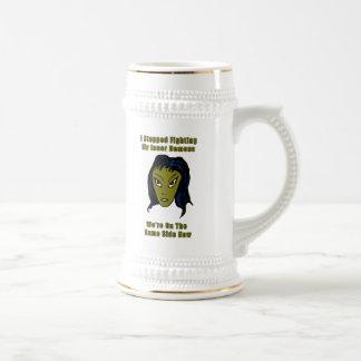 Green Evil Alien Woman Same Side Now Mugs