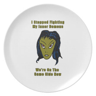 Green Evil Alien Woman Same Side Now Party Plate