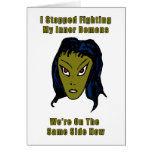 Green Evil Alien Woman Same Side Now Stationery Note Card