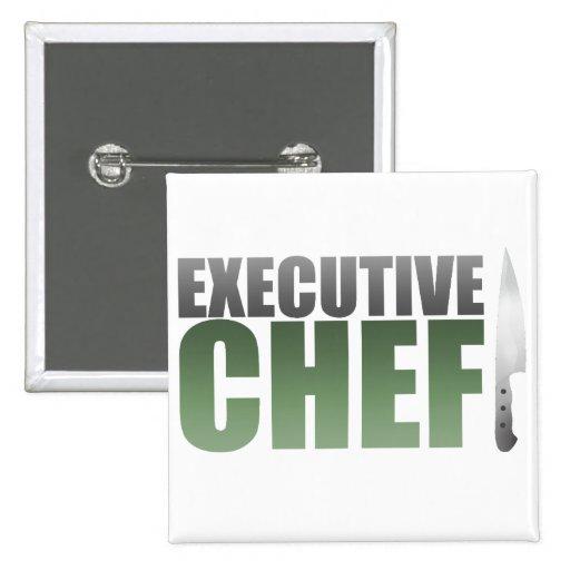 Green Executive Chef 2 Inch Square Button