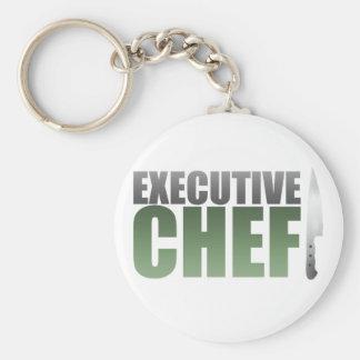 Green Executive Chef Basic Round Button Keychain