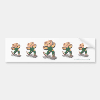 Green Exercise Teddy Bear Bumper Sticker Car Bumper Sticker