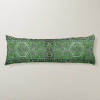 Green Exotic Persian Rug Reproduction, Body Pillow