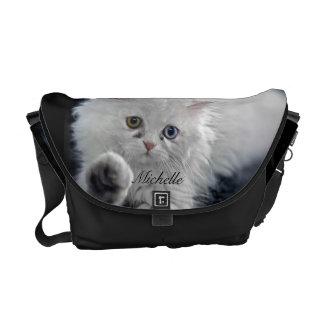 Green Eye Blue Eye White Persian Cat Messenger Bag