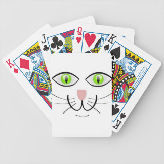 Green Eye Cat Cat Face, Smiling Kitty Bicycle Playing Cards