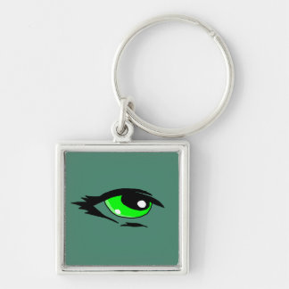 Green eye design matching jewelry set Silver-Colored square keychain