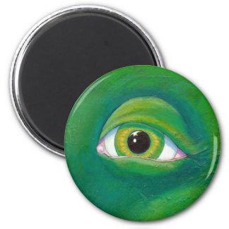 Green eye dinosaur dragon ogre art Remembering Refrigerator Magnets