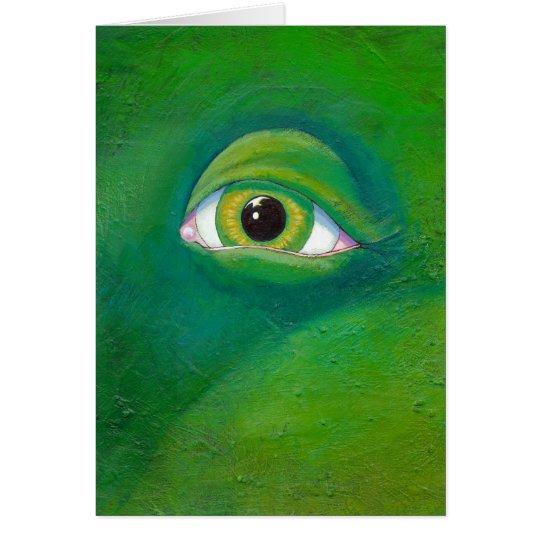 Green eye dinosaur frog lizard ogre painting art card
