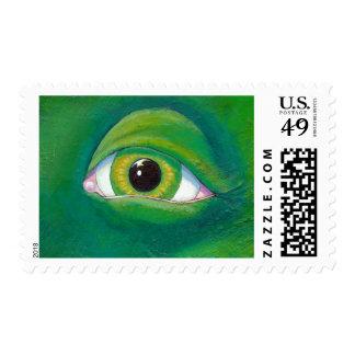Green eye dinosaur frog lizard ogre painting art stamp
