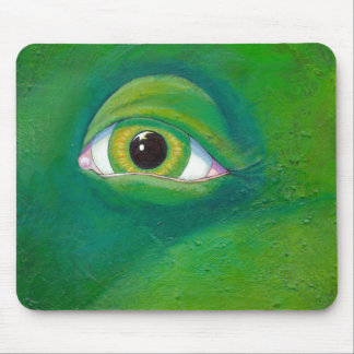 Green eye dinosaur frog lizard - Remembering - art Mousepads