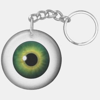 Green Eye Eyeball Round Two Sided Acrylic Keychain