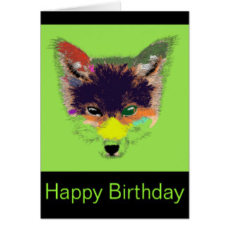 Green Eye Fox Pop Art Birthday Card