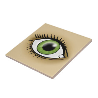 Green Eye icon Ceramic Tile