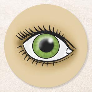 Green Eye icon Round Paper Coaster