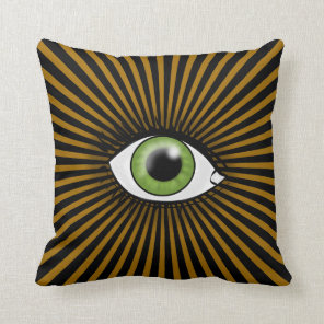 Green Eye icon Throw Pillow