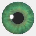 Green Eye Iris Cool Eyeball Custom Round Stickers Round Stickers
