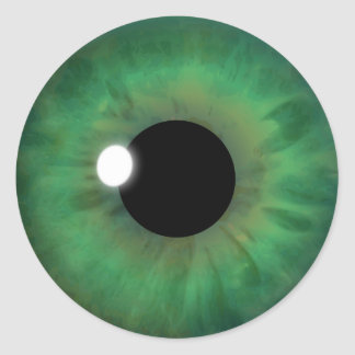 Green Eye Iris Cool Eyeball Custom Round Stickers