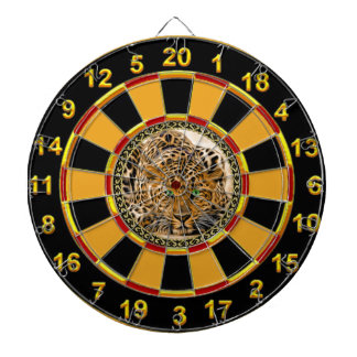 Green eye leopard with gold plated foil design dartboard