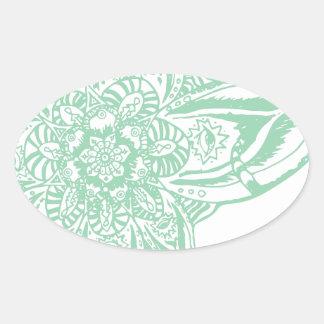 Green Eye Mandala (Singular) Oval Sticker