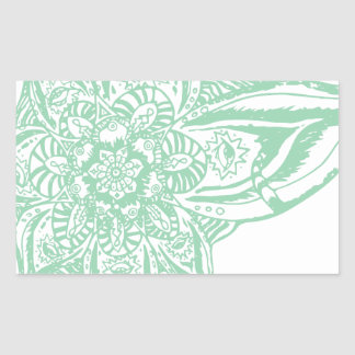 Green Eye Mandala (Singular) Rectangular Sticker