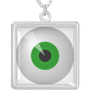 Green Eye Square Pendant Necklace
