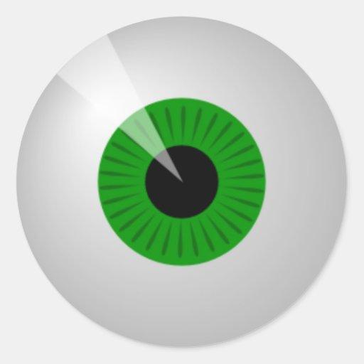 Green Eye Round Stickers