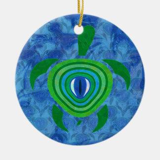 Green Eye Turtle Round Ornament