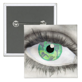 Green Eye With Dancer Silhouettes in Iris Pinback Buttons