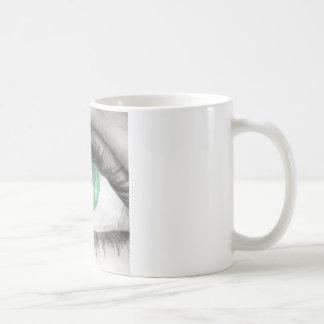 Green Eye With Dancer Silhouettes in Iris Coffee Mug