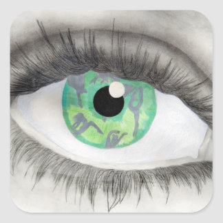 Green Eye With Dancer Silhouettes in Iris Square Sticker