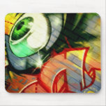 Green Eyeball Graffiti in Echo Park Mouse Mat