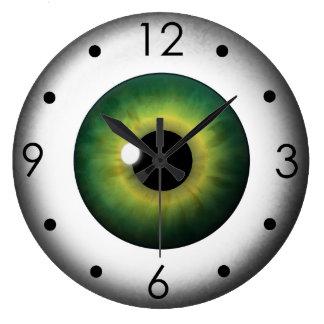 Green Eyeball Iris Eye Custom Large Round Clock