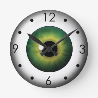 Green Eyeball Iris Eye Custom Medium Round Clock