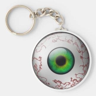 Green Eyeball Keyring Basic Round Button Keychain