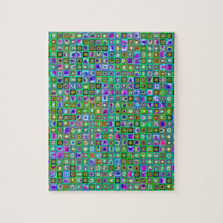 Green 'Eyeballs' Psychedelic Retro Tiles Pattern Jigsaw Puzzles