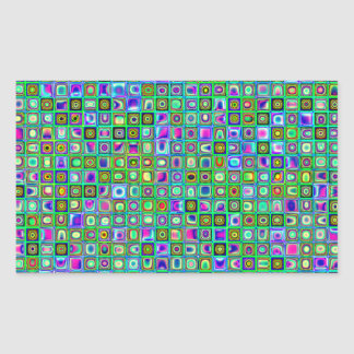 Green 'Eyeballs' Psychedelic Retro Tiles Pattern Rectangle Stickers