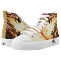 Green Eyed Anime Girl Airbrush Custom Collector High-Top Sneakers