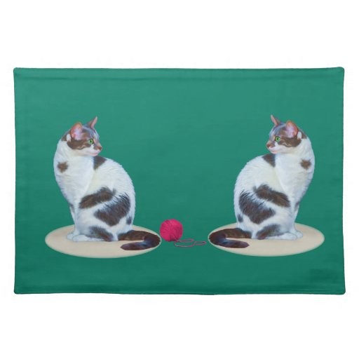 Green-eyed Black and White Cat  Placemats Placemat