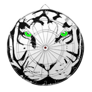GREEN EYED BLACK AND WHITE TIGER DART BOARD